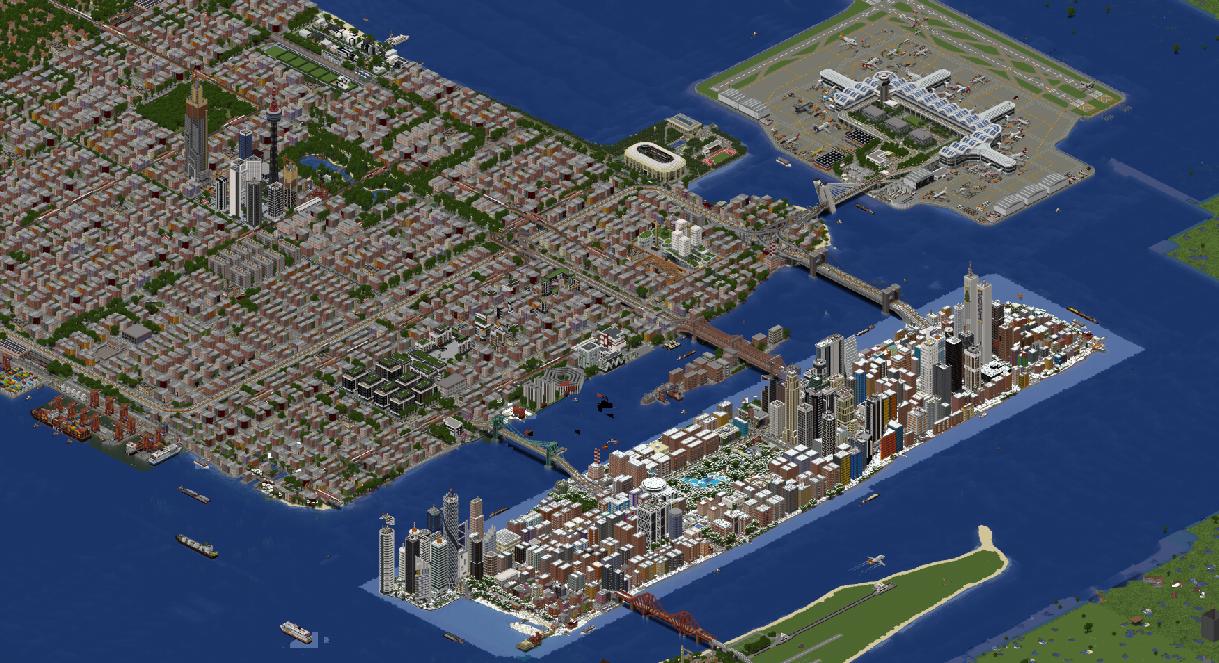 «Потрясающая работа»: игроки в Minecraft больше года создают мегаполис Либерти-Сити из GTA