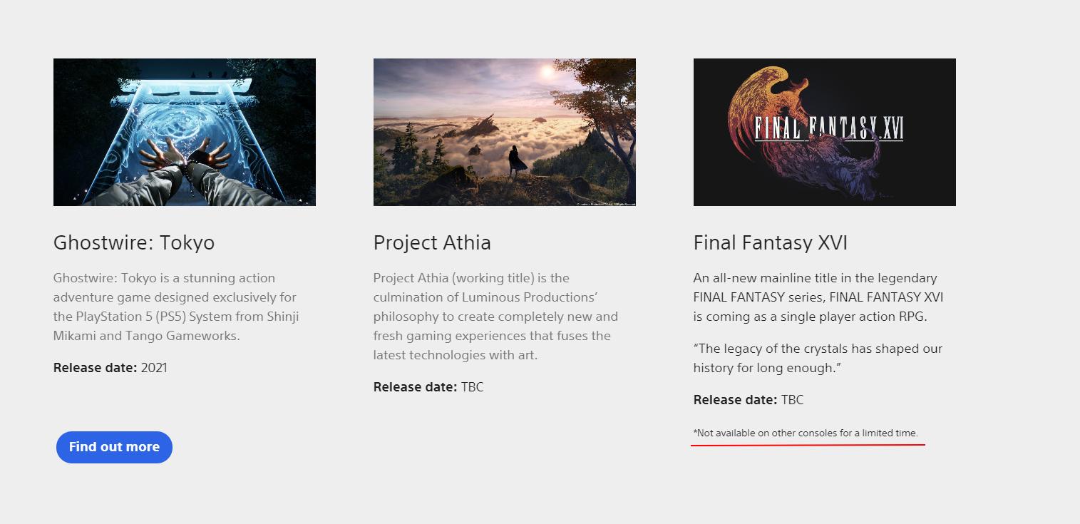Согласно сайту PlayStation, Final Fantasy XVI появится на «других консолях» после релиза на PS5