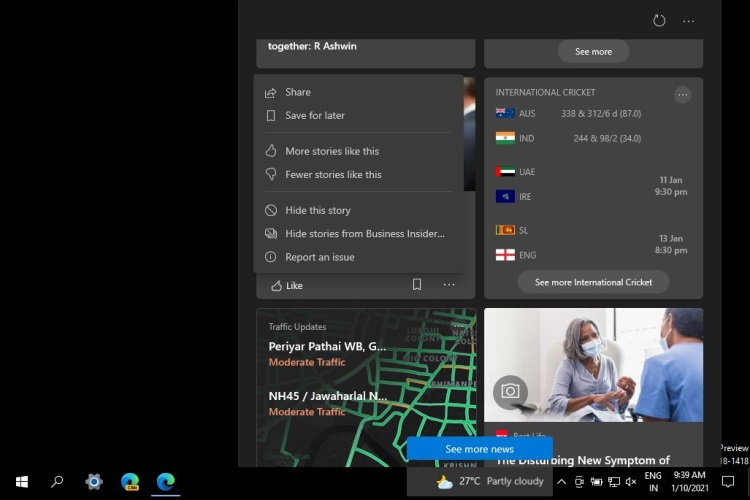 Microsoft начала распространение виджета «Новости и интересы» панели задач Windows 10