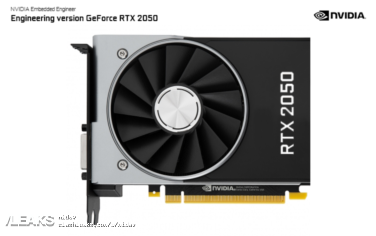 Первые изображения видеокарты Nvidia GeForce RTX 2050