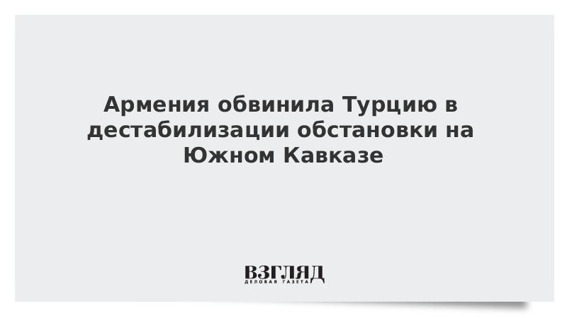 Армения обвинила Турцию в дестабилизации обстановки на Южном Кавказе