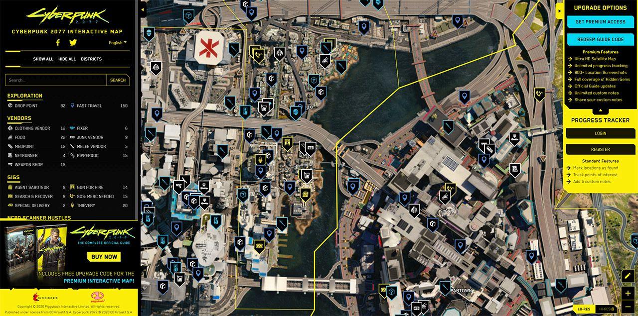 Опубликована интерактивная карта Cyberpunk 2077