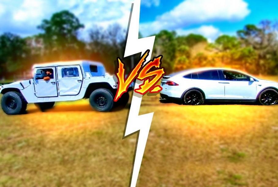 Видео: Hummer H1 и Ford F-450 сразились с Tesla в перетягивании каната